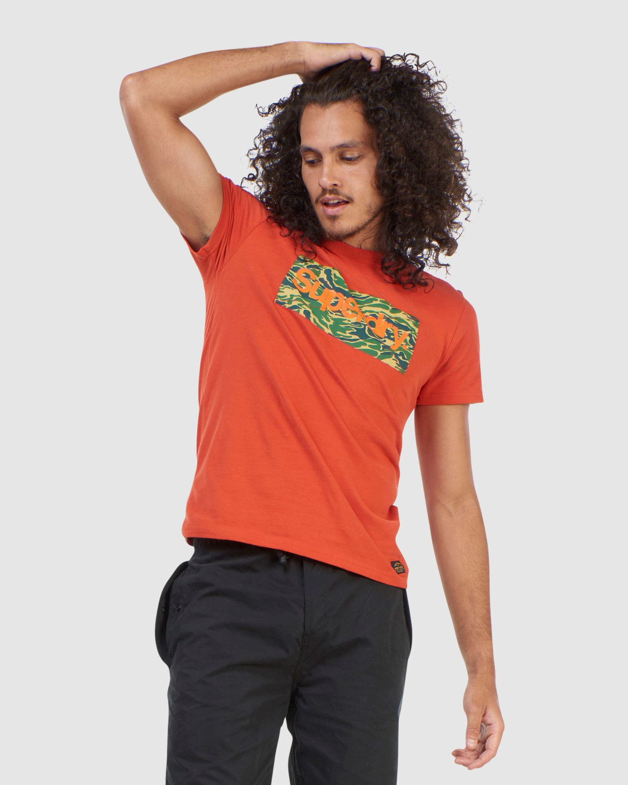 Superdry Mens Core Logo Canvas Tee Brown Printed T Shirts 0