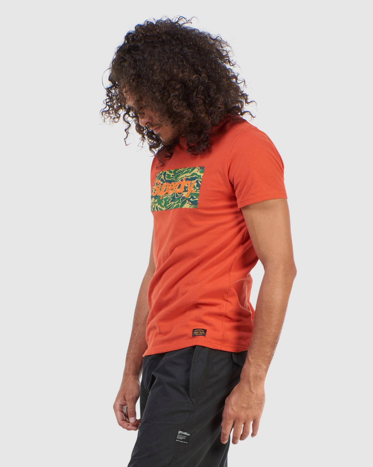 Superdry Mens Core Logo Canvas Tee Brown Printed T Shirts 2