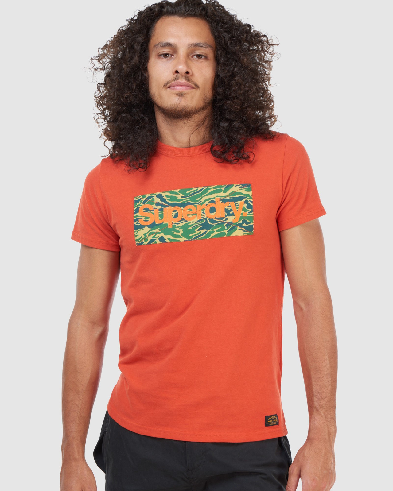 Superdry Mens Core Logo Canvas Tee Brown Printed T Shirts 4