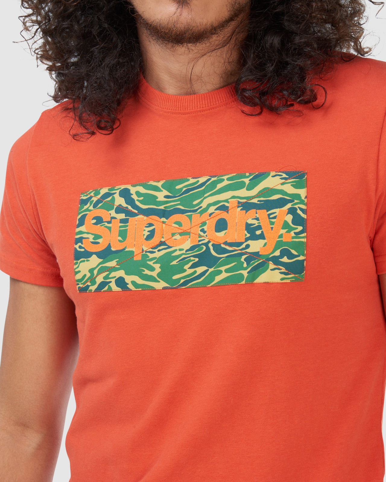 Superdry Mens Core Logo Canvas Tee Brown Printed T Shirts 7