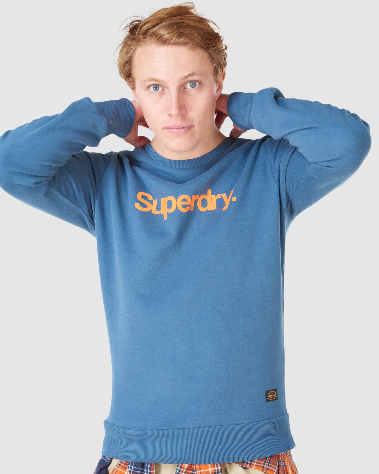 Superdry Mens CL CANVAS CREW Blue Sweat Tops 5