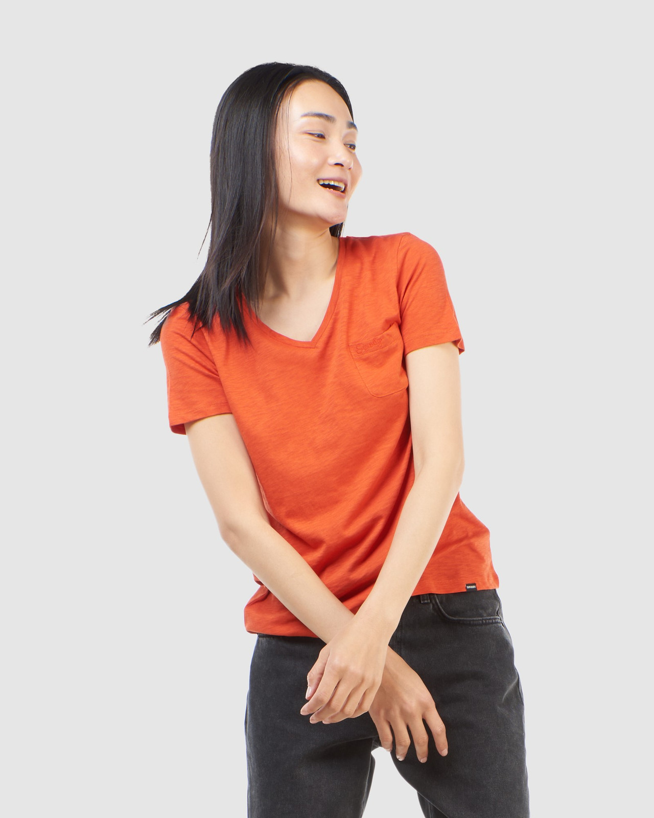 Superdry Womens SCRIPTED V NECK TEE Brown Plain T Shirts 1