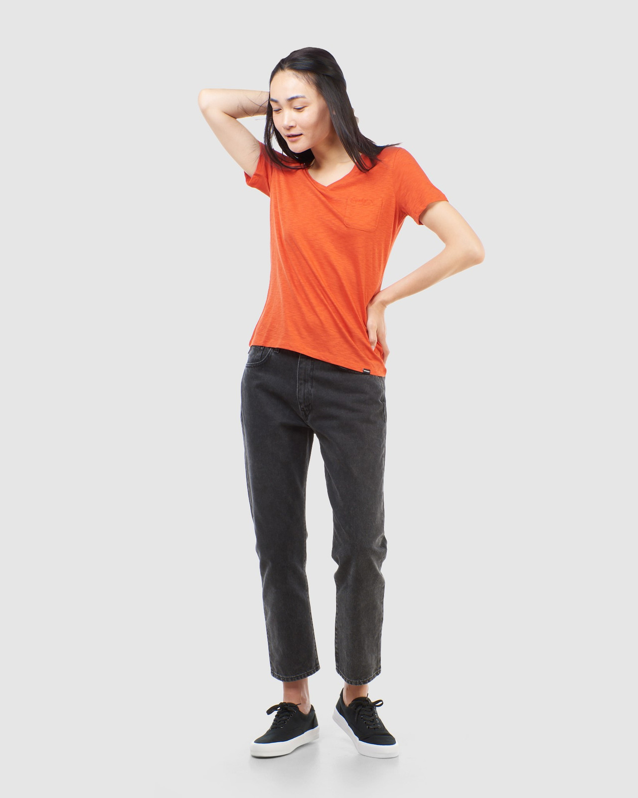 Superdry Womens SCRIPTED V NECK TEE Brown Plain T Shirts 3