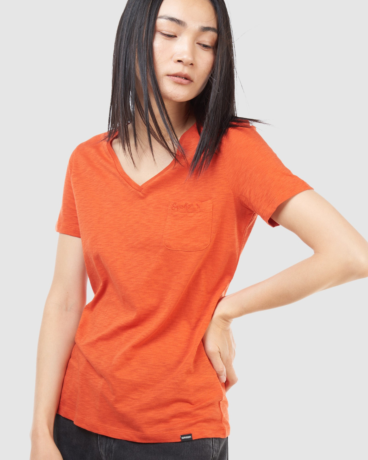 Superdry Womens SCRIPTED V NECK TEE Brown Plain T Shirts 7