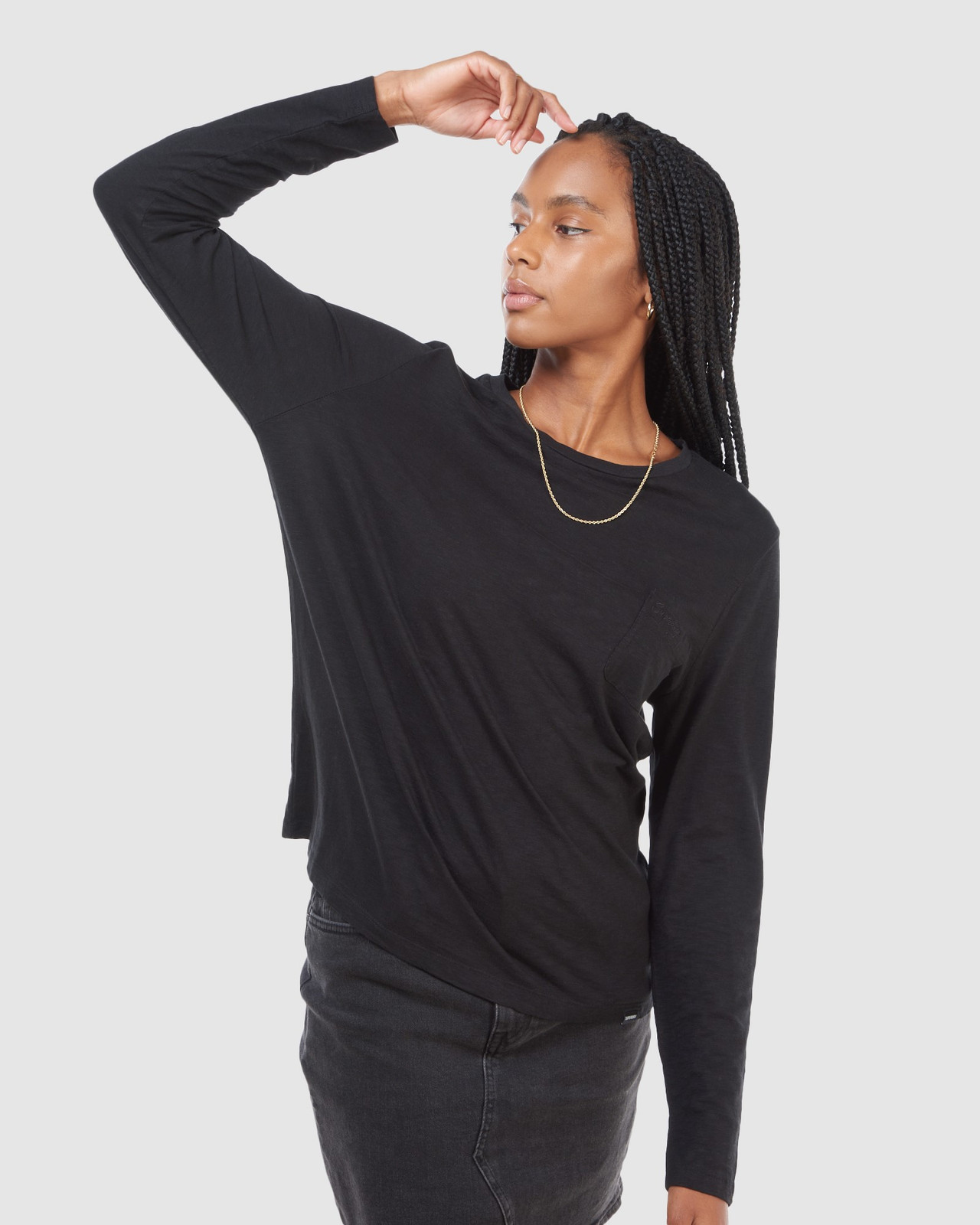 Superdry Womens SCRIPTED L/S CREW TOP Black Long Sleeve Top 2