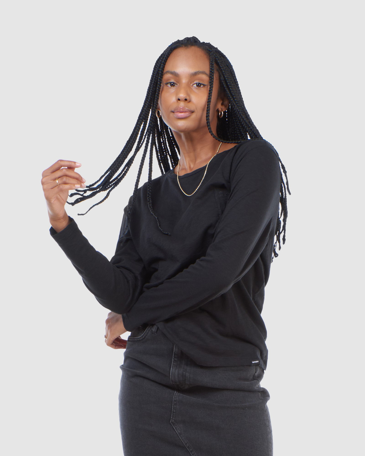 Superdry Womens SCRIPTED L/S CREW TOP Black Long Sleeve Top 0
