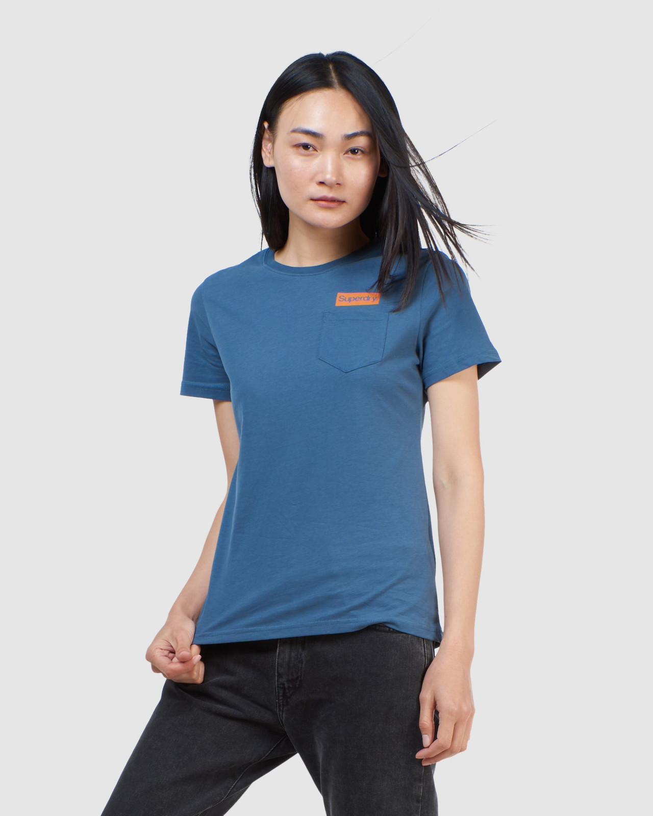 Superdry Womens CL PATINA TEE Blue Printed T Shirts 0