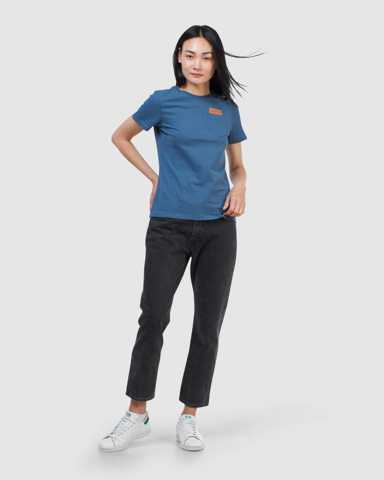Superdry Womens CL PATINA TEE Blue Printed T Shirts 1