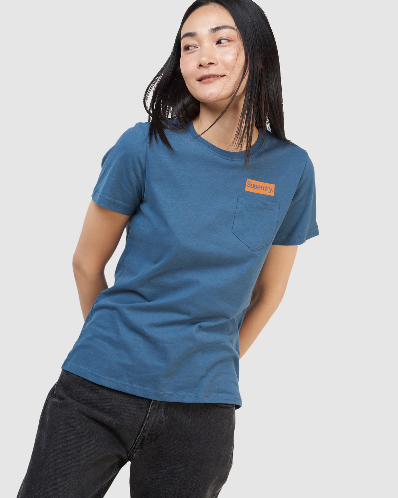 Superdry Womens CL PATINA TEE Blue Printed T Shirts 4