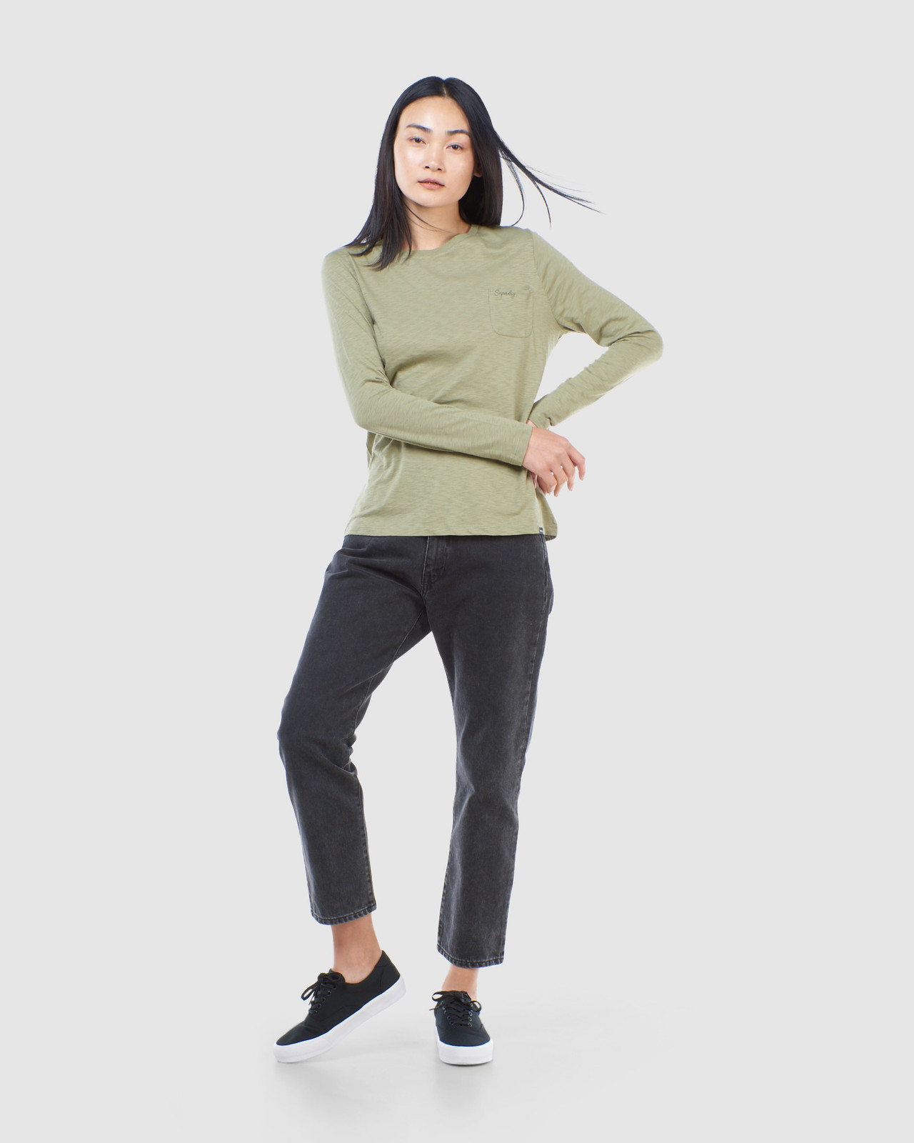 Superdry Womens SCRIPTED L/S CREW TOP Green Long Sleeve Top 1
