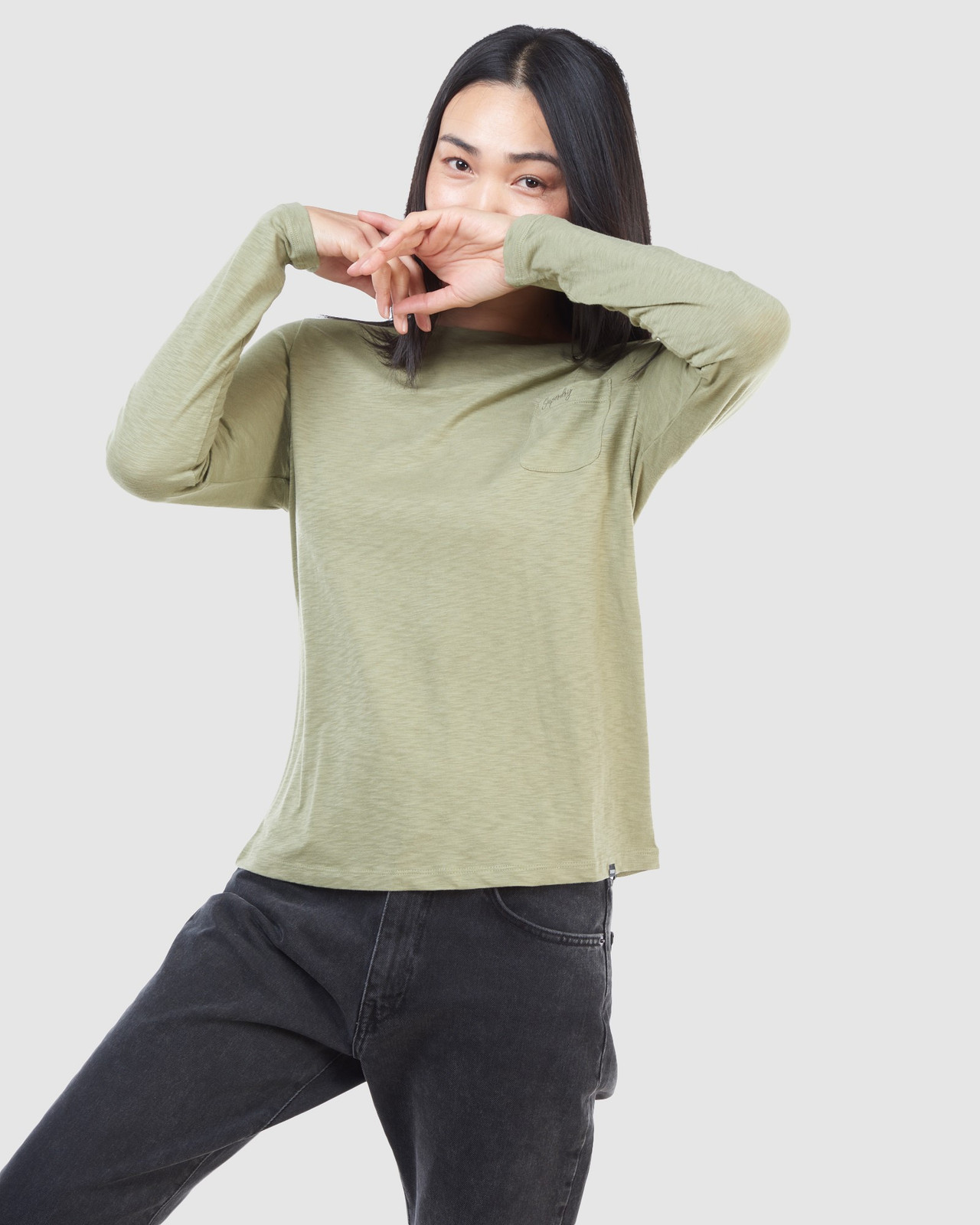 Superdry Womens SCRIPTED L/S CREW TOP Green Long Sleeve Top 2