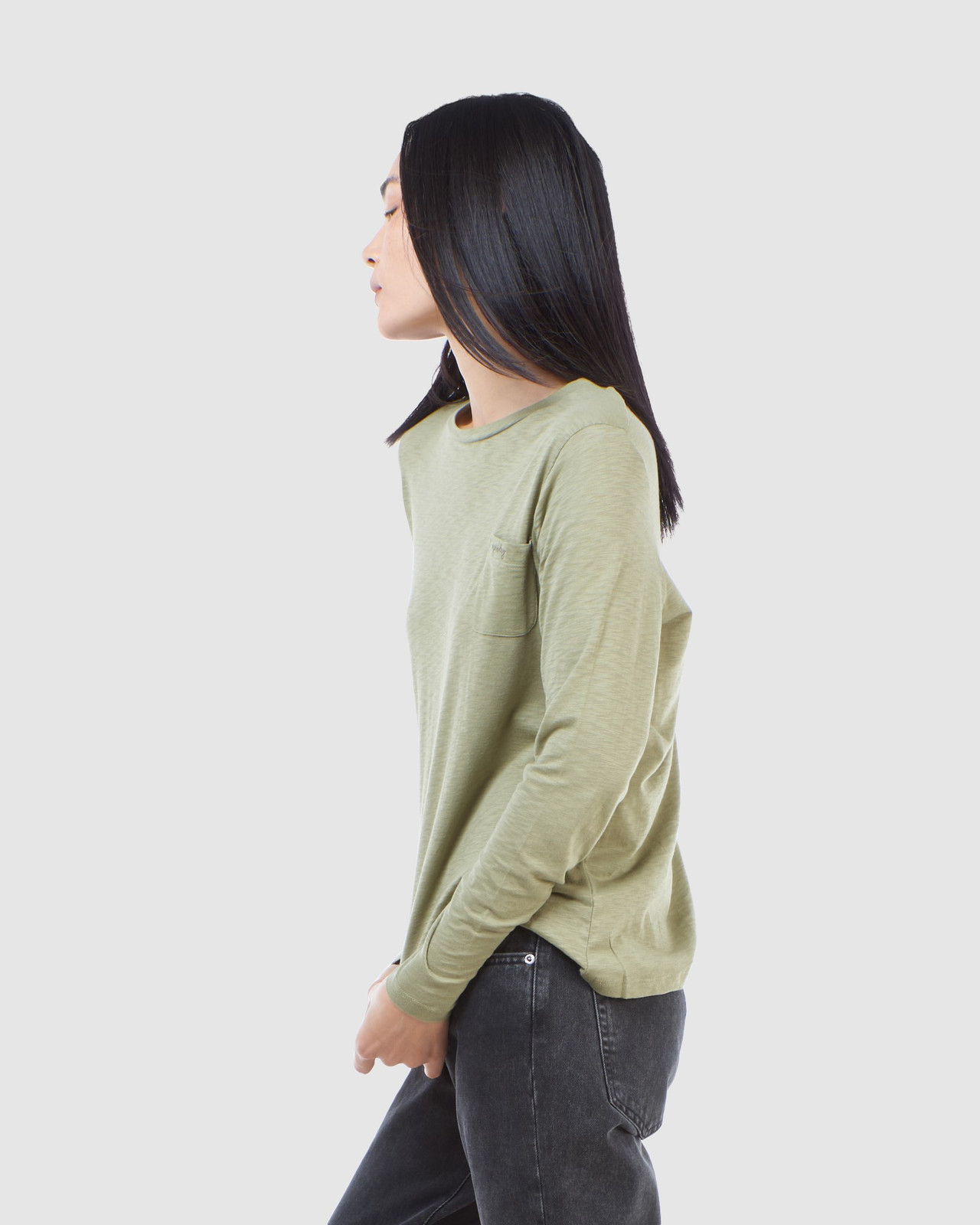 Superdry Womens SCRIPTED L/S CREW TOP Green Long Sleeve Top 3