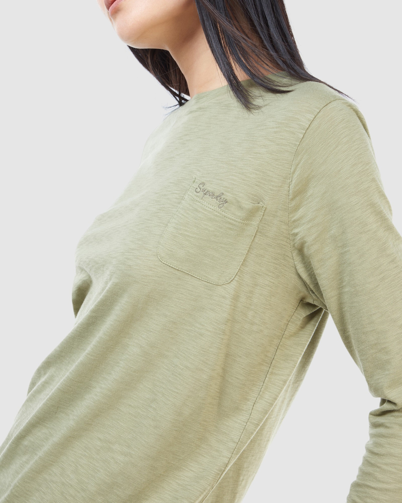 Superdry Womens SCRIPTED L/S CREW TOP Green Long Sleeve Top 5