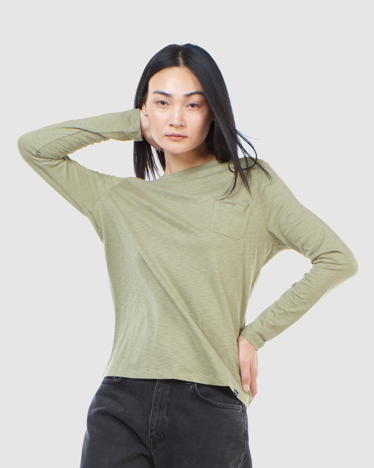 Superdry Womens SCRIPTED L/S CREW TOP Green Long Sleeve Top 0