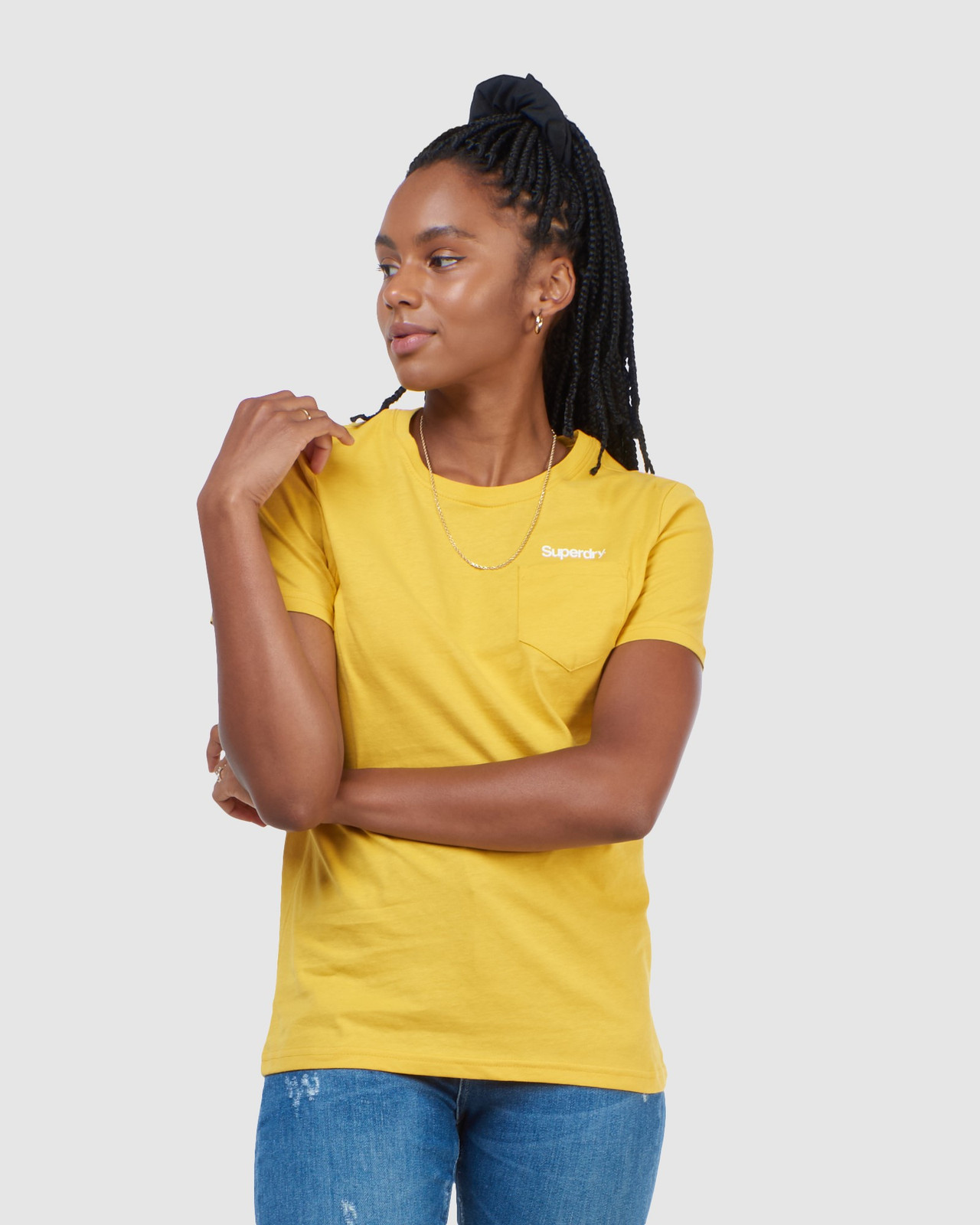 Superdry Womens CL PATINA TEE Yellow Printed T Shirts 0