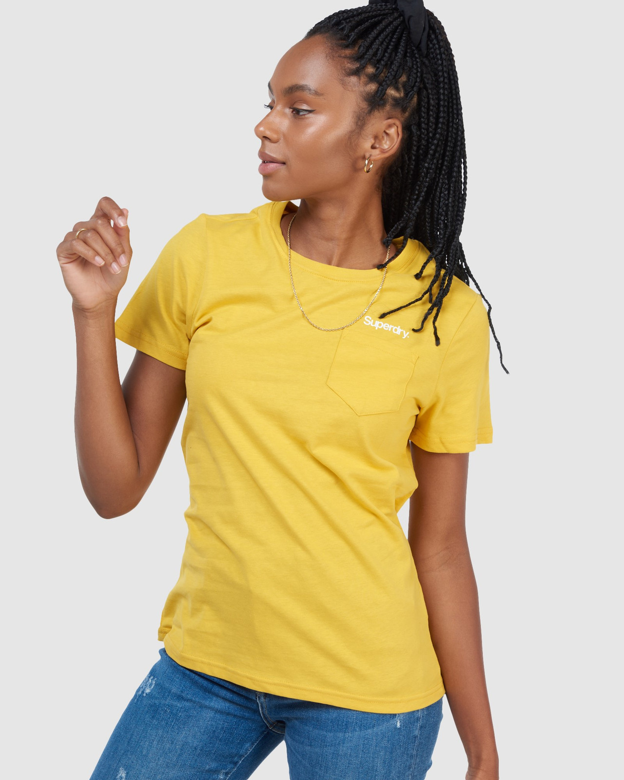Superdry Womens CL PATINA TEE Yellow Printed T Shirts 4