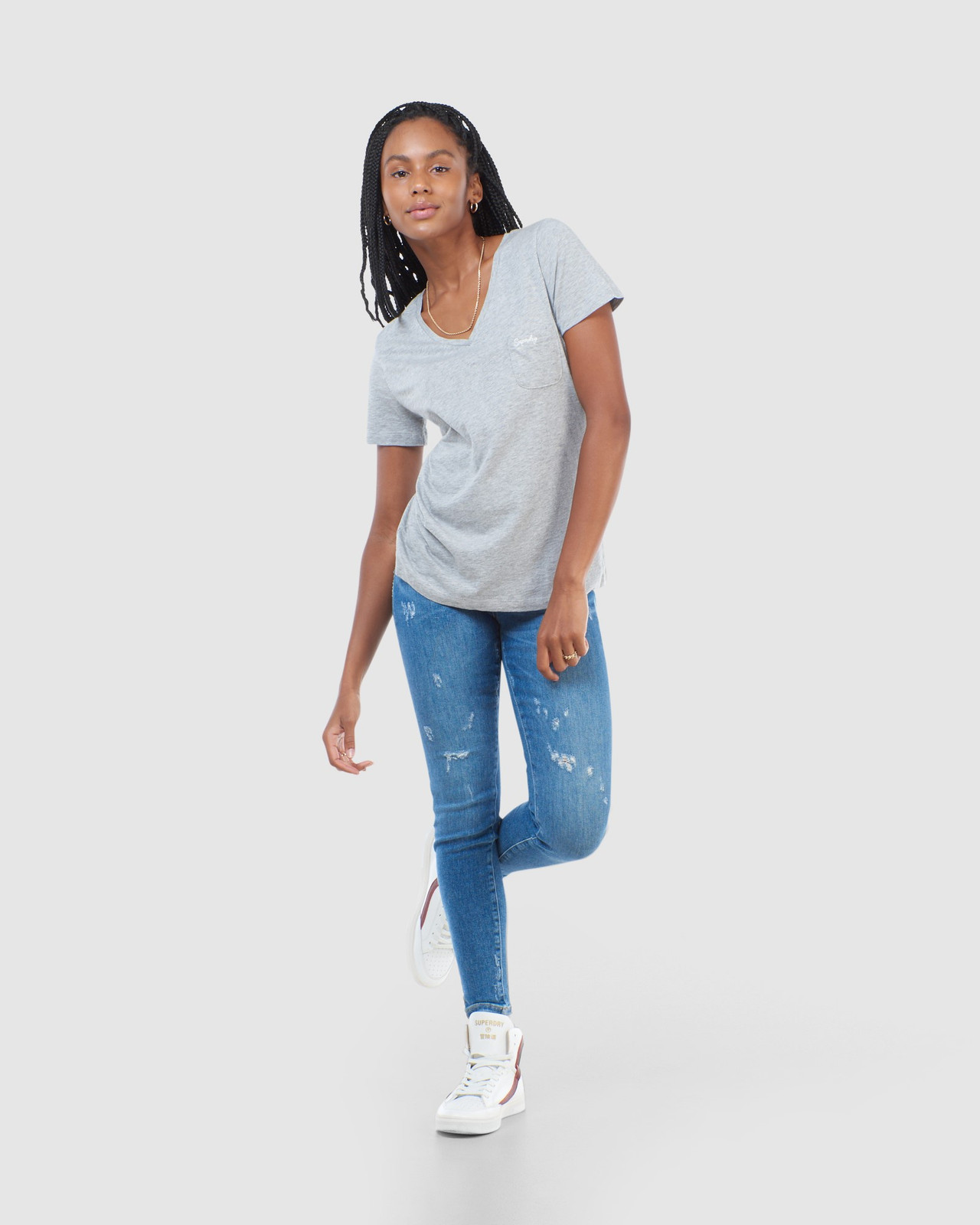 Superdry Womens SCRIPTED V NECK TEE Grey Plain T Shirts 3