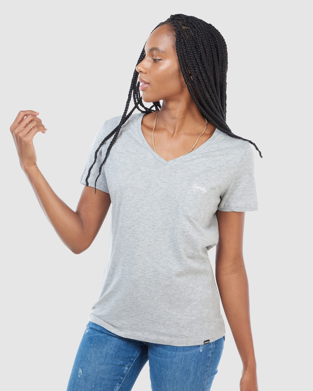 Superdry Womens SCRIPTED V NECK TEE Grey Plain T Shirts 5