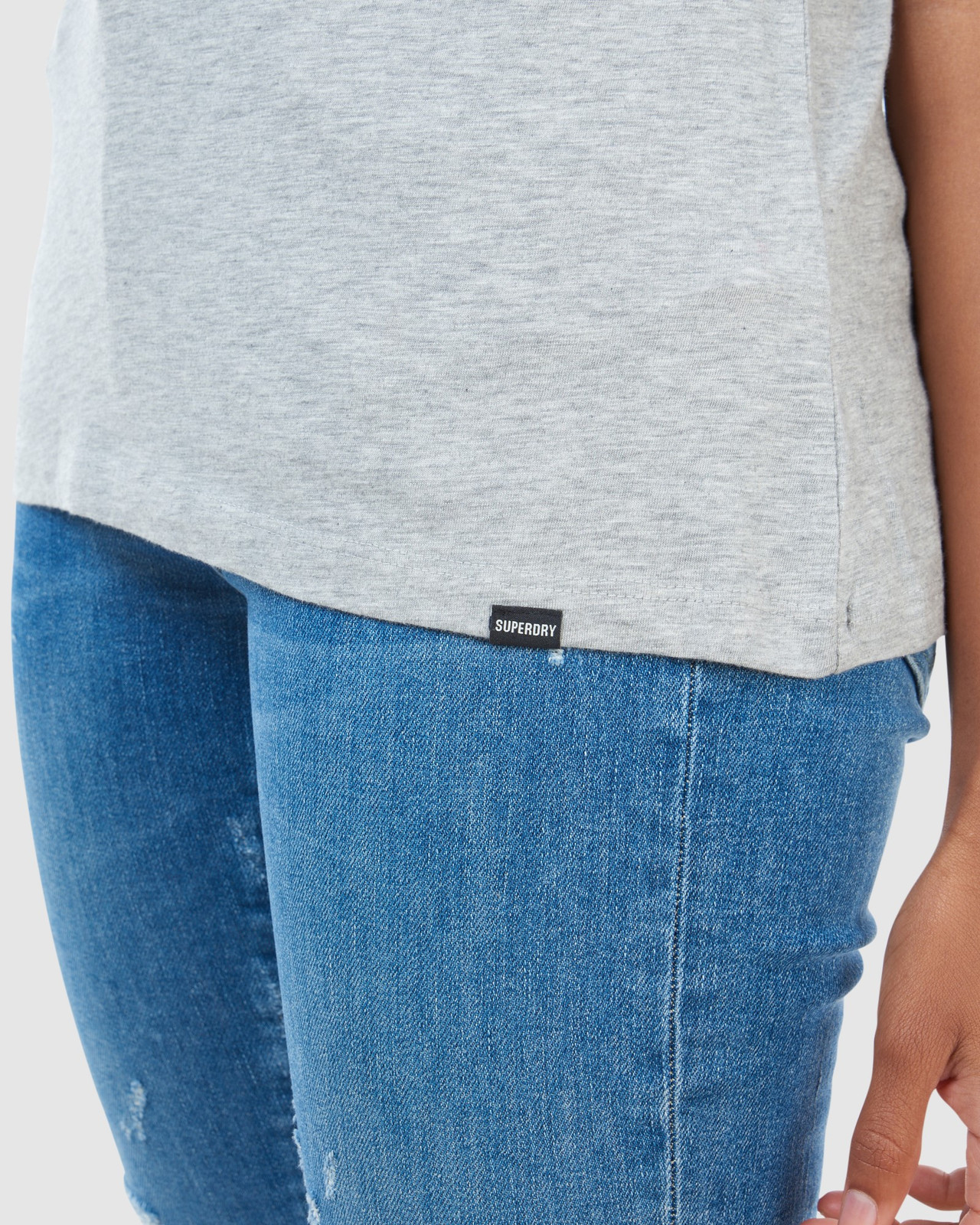 Superdry Womens SCRIPTED V NECK TEE Grey Plain T Shirts 17