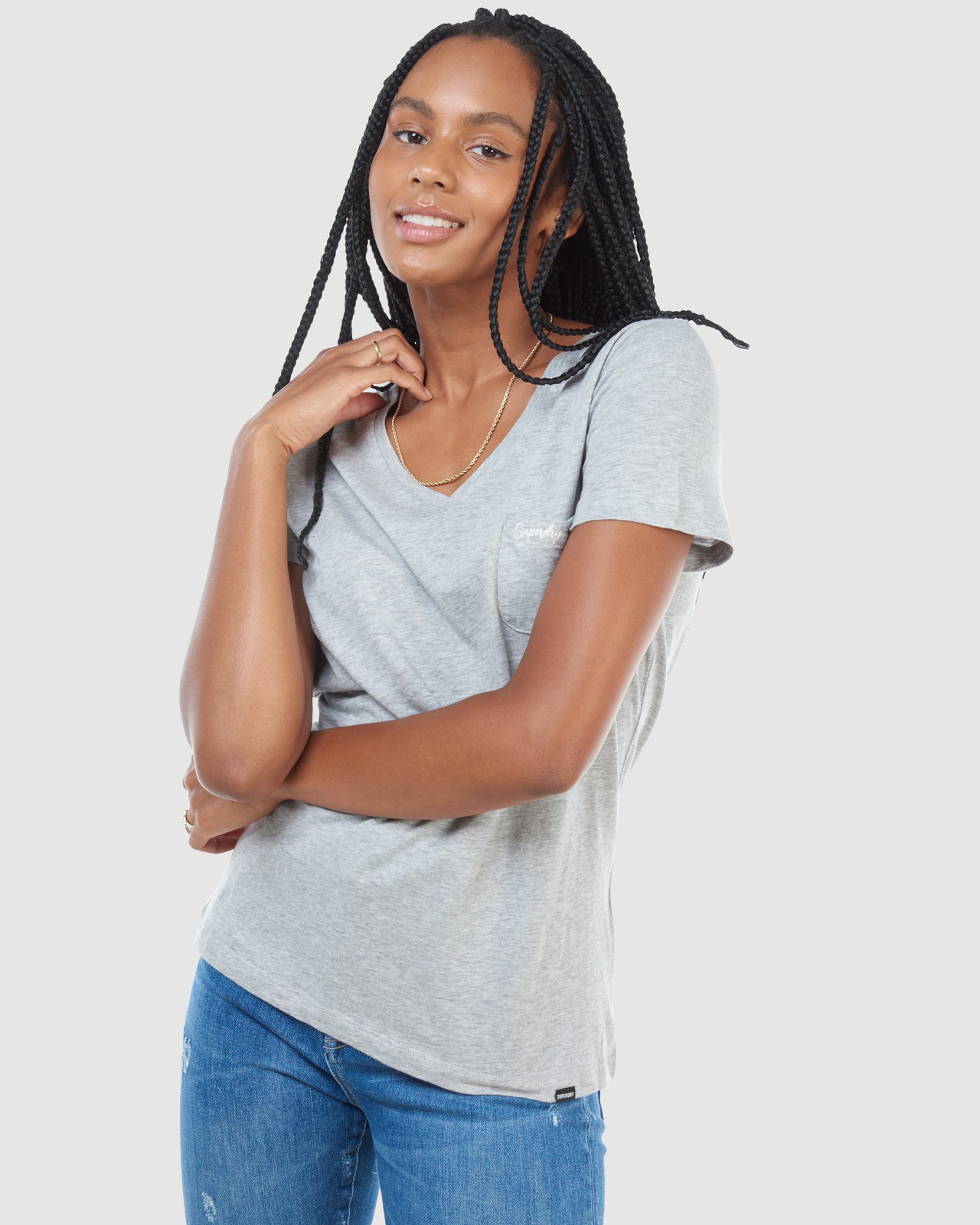 Superdry Womens SCRIPTED V NECK TEE Grey Plain T Shirts 1