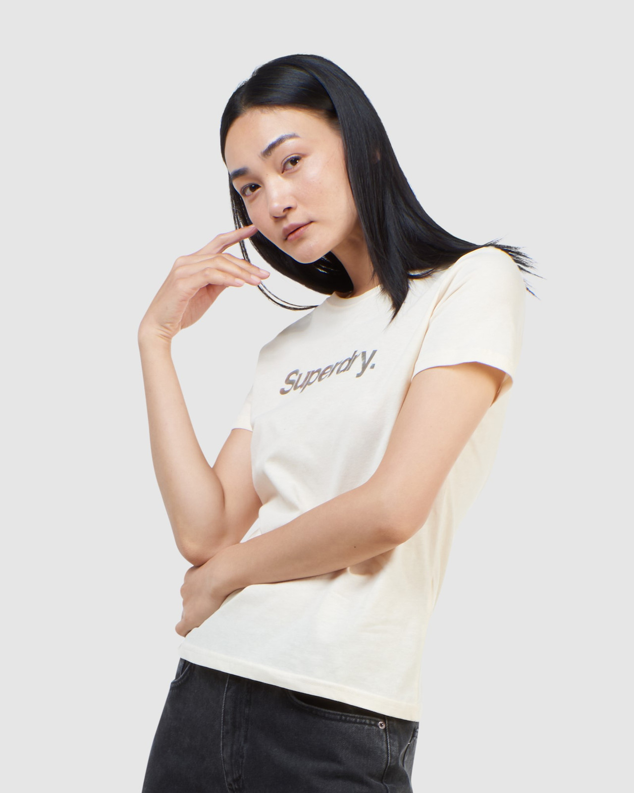 Superdry Womens CL PATINA TEE Neutrals Printed T Shirts 0