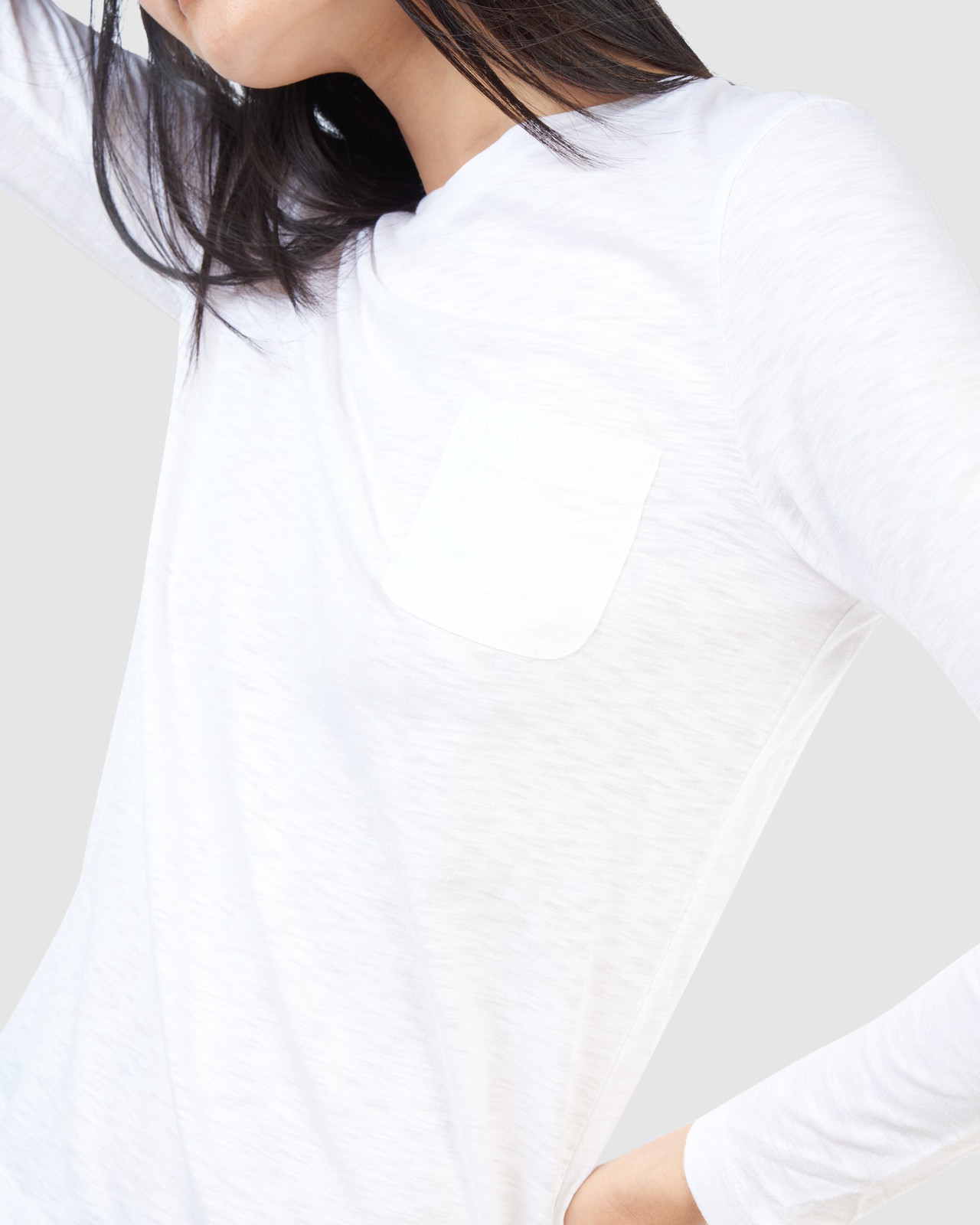 Superdry Womens SCRIPTED L/S CREW TOP White Long Sleeve Top 6