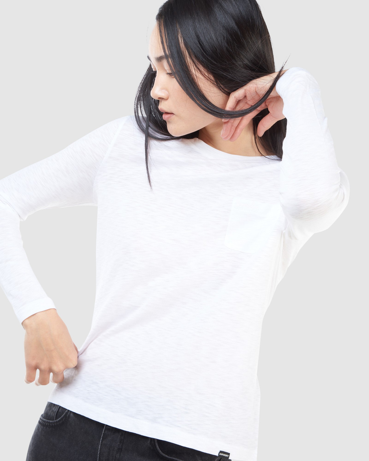 Superdry Womens SCRIPTED L/S CREW TOP White Long Sleeve Top 3