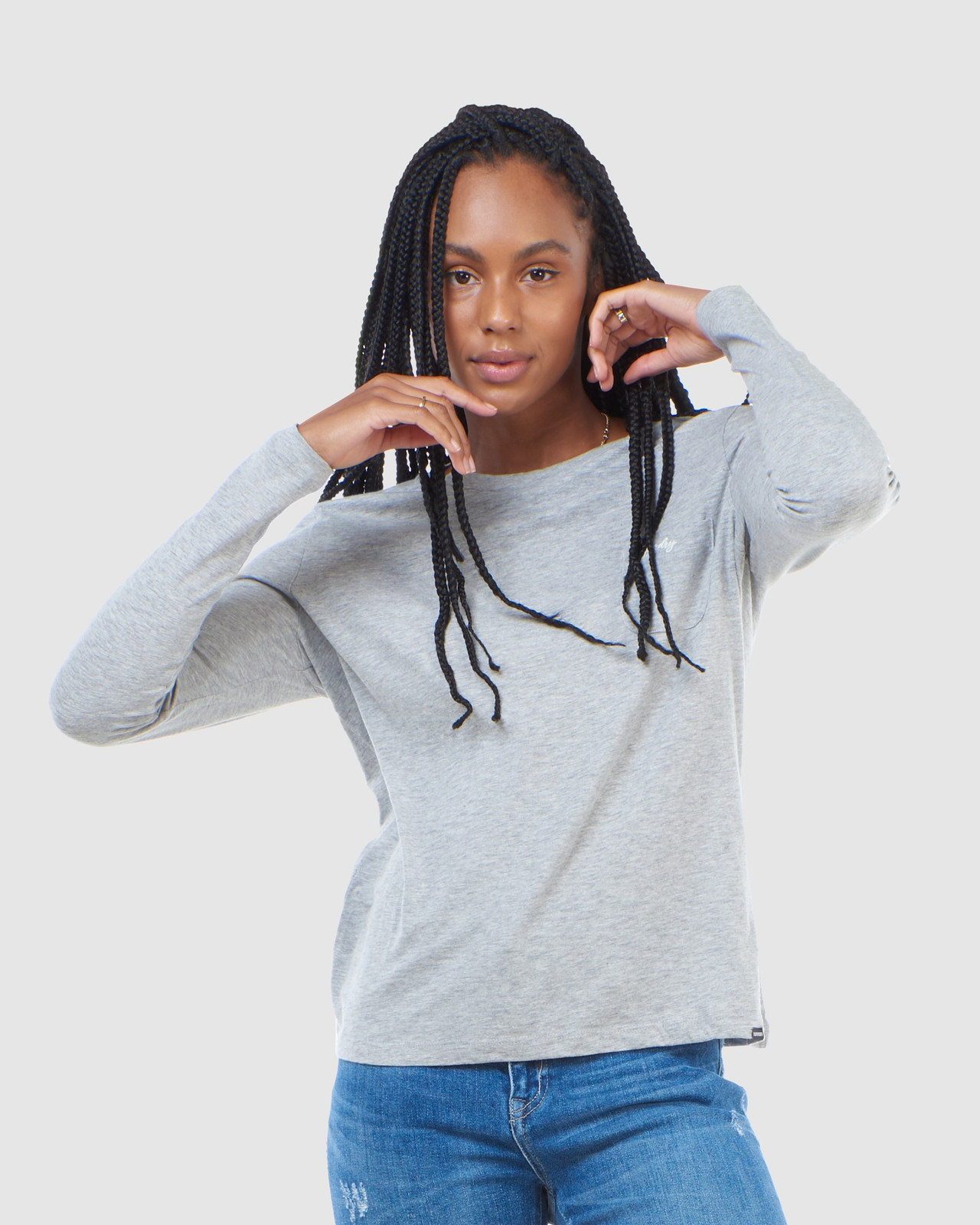Superdry Womens SCRIPTED L/S CREW TOP Grey Long Sleeve Top 0