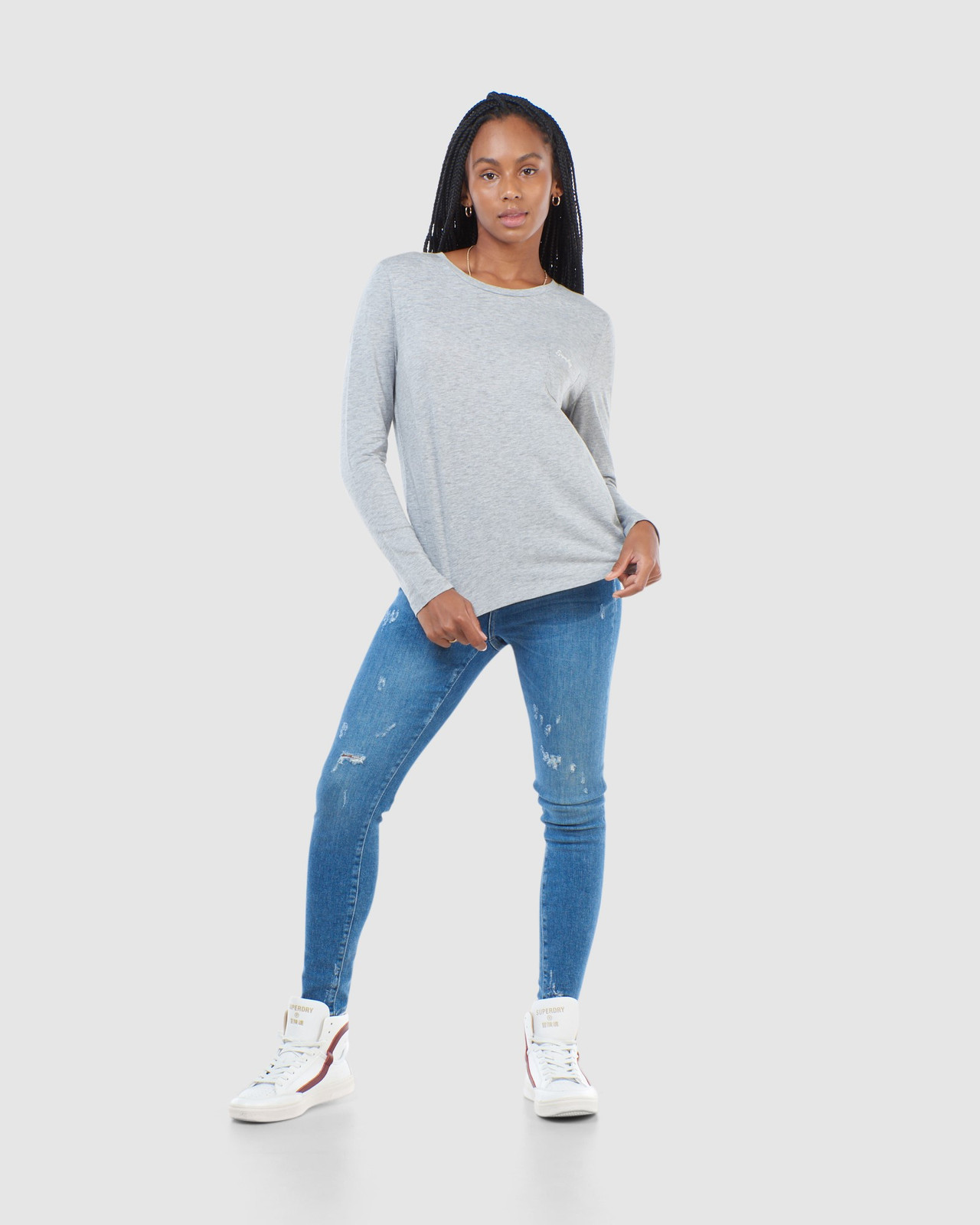 Superdry Womens SCRIPTED L/S CREW TOP Grey Long Sleeve Top 1