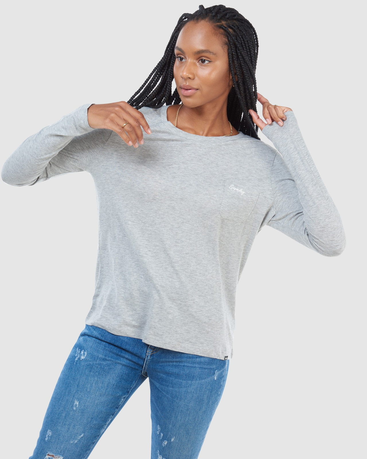 Superdry Womens SCRIPTED L/S CREW TOP Grey Long Sleeve Top 2