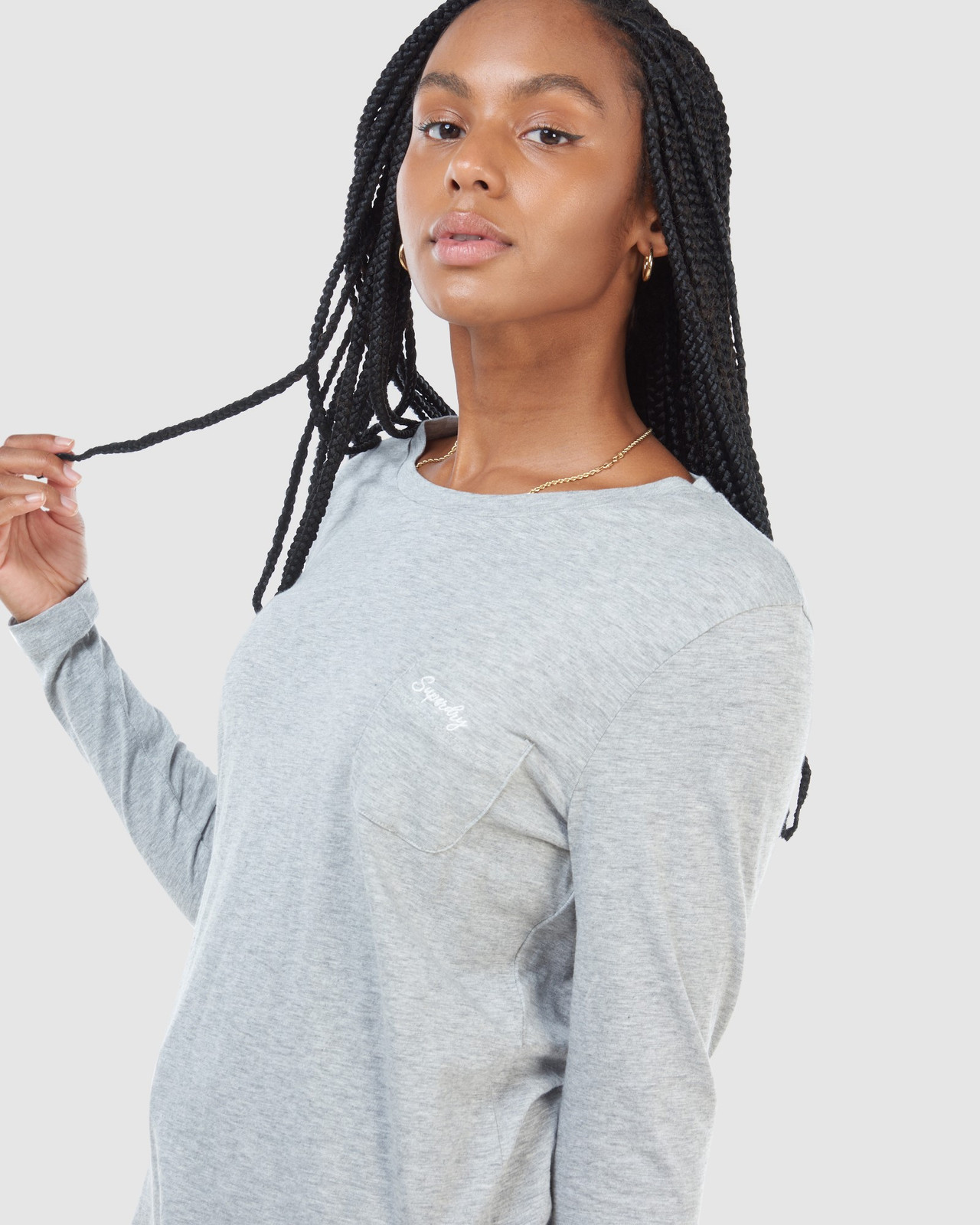 Superdry Womens SCRIPTED L/S CREW TOP Grey Long Sleeve Top 3