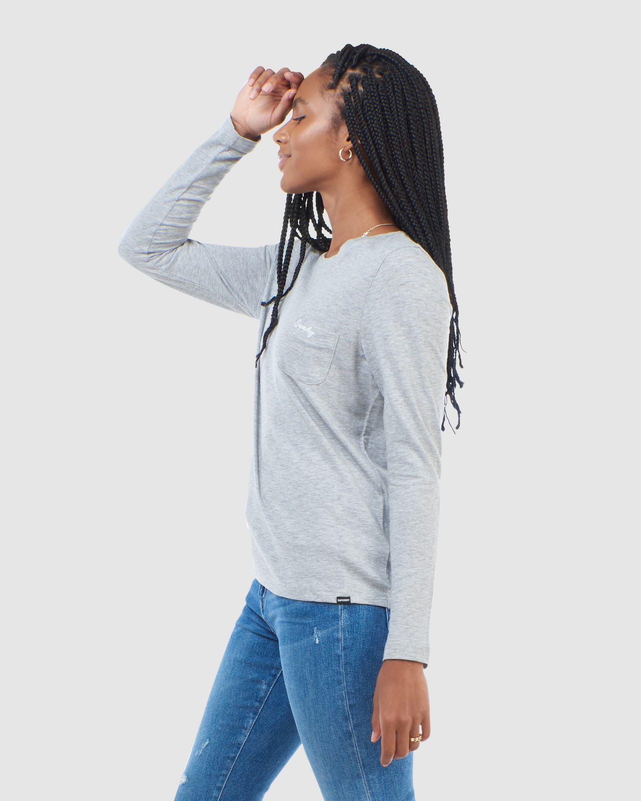 Superdry Womens SCRIPTED L/S CREW TOP Grey Long Sleeve Top 4