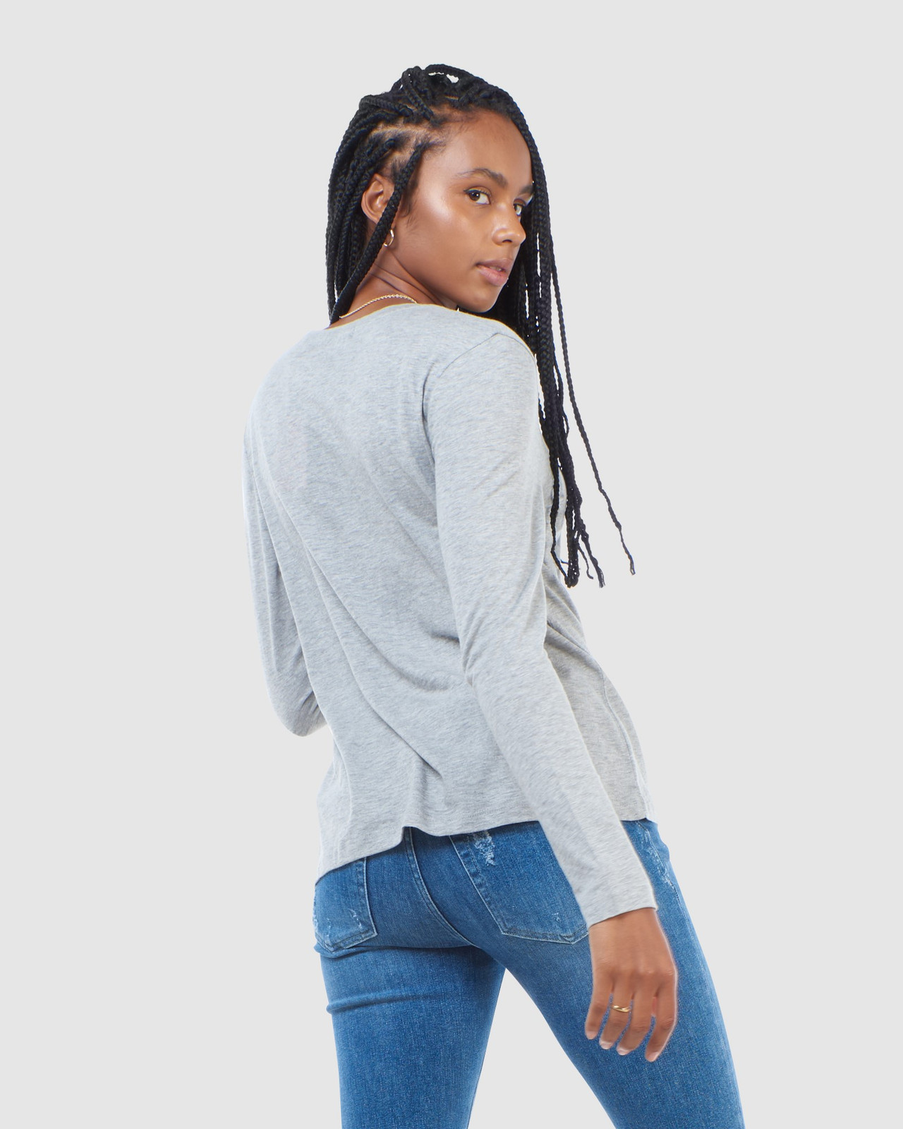 Superdry Womens SCRIPTED L/S CREW TOP Grey Long Sleeve Top 5