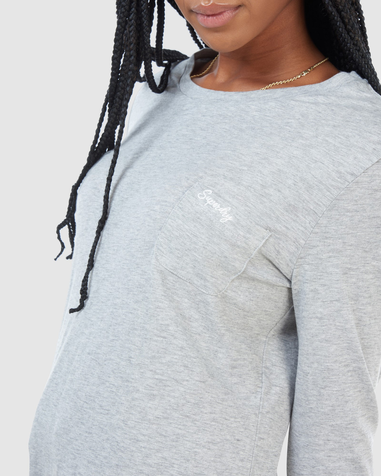 Superdry Womens SCRIPTED L/S CREW TOP Grey Long Sleeve Top 6