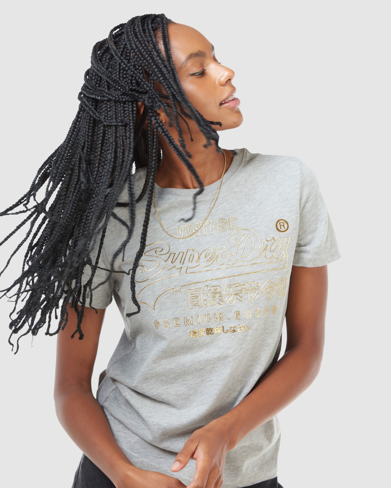 Superdry Womens VL LUSTER TEE Grey Printed T Shirts 5
