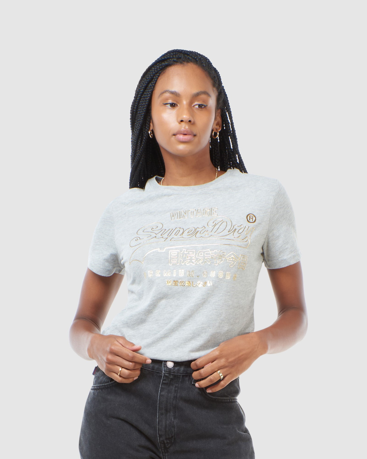 Superdry Womens VL LUSTER TEE Grey Printed T Shirts 0