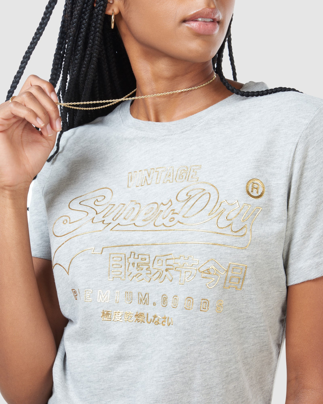 Superdry Womens VL LUSTER TEE Grey Printed T Shirts 9