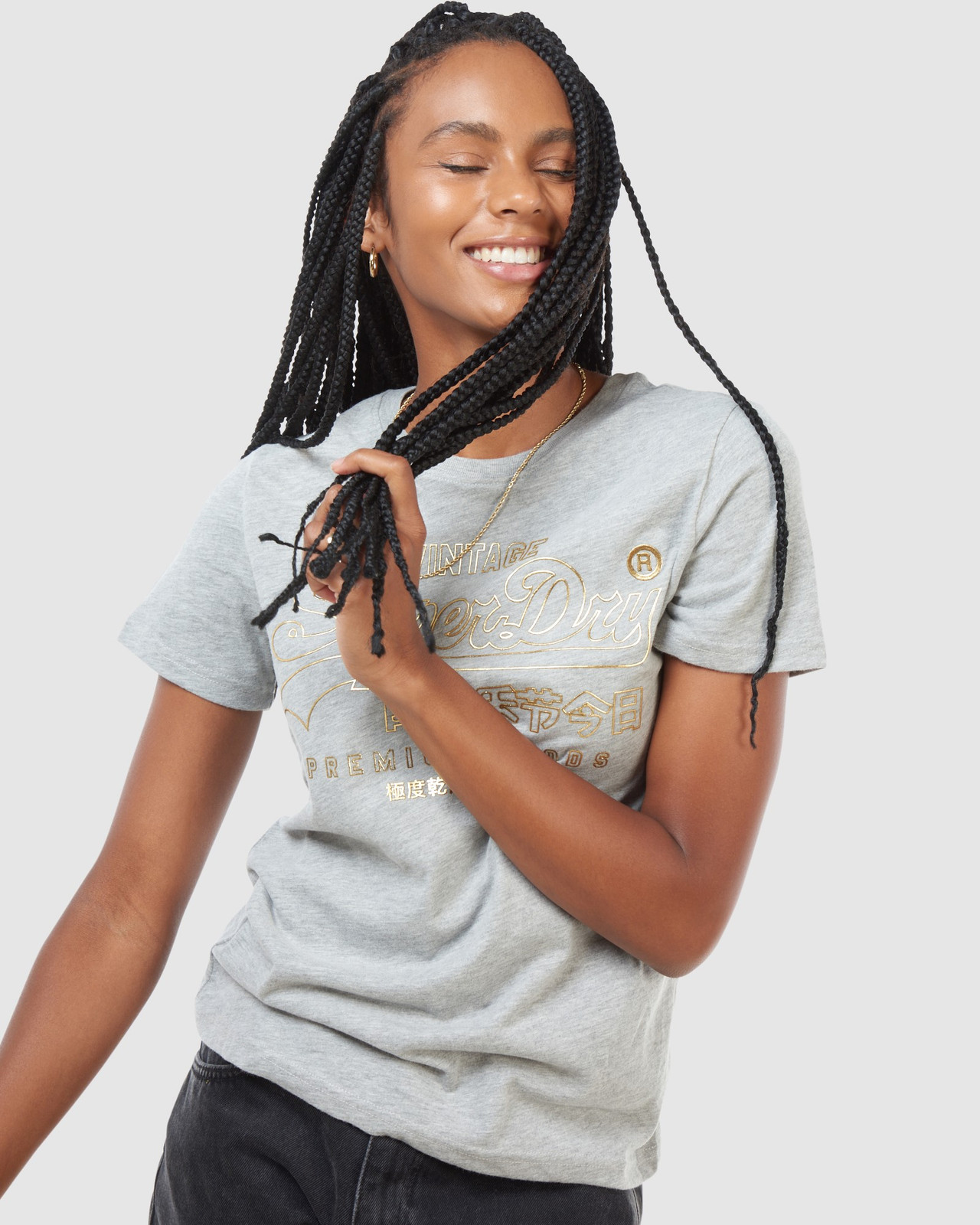 Superdry Womens VL LUSTER TEE Grey Printed T Shirts 4