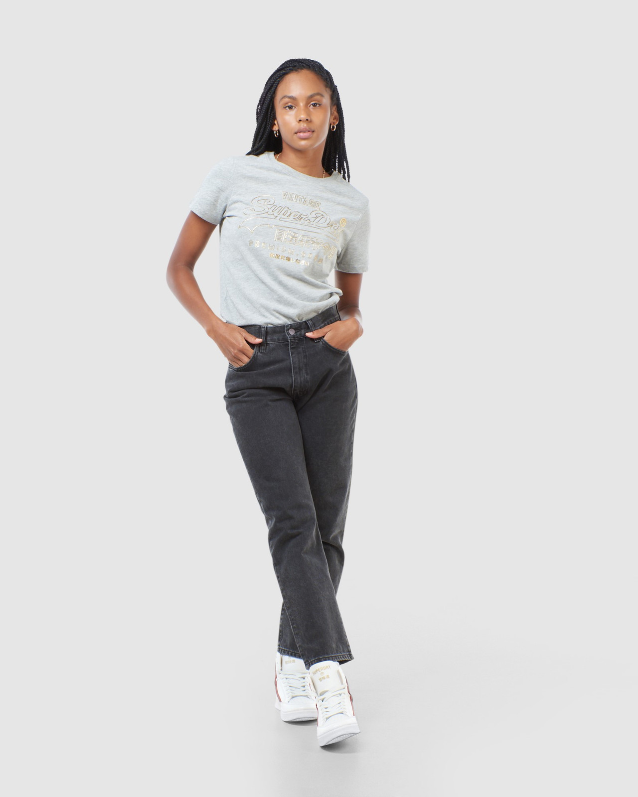 Superdry Womens VL LUSTER TEE Grey Printed T Shirts 1