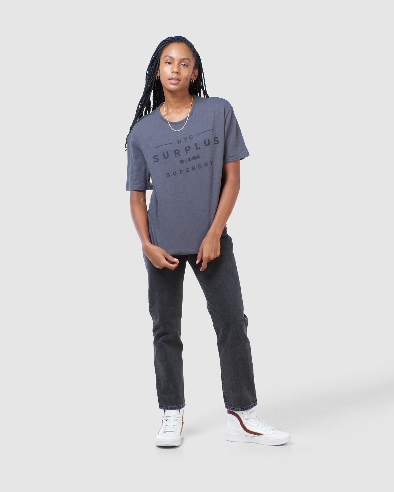 Superdry Womens SURPLUS GRAPHIC TEE Grey Printed T Shirts 1