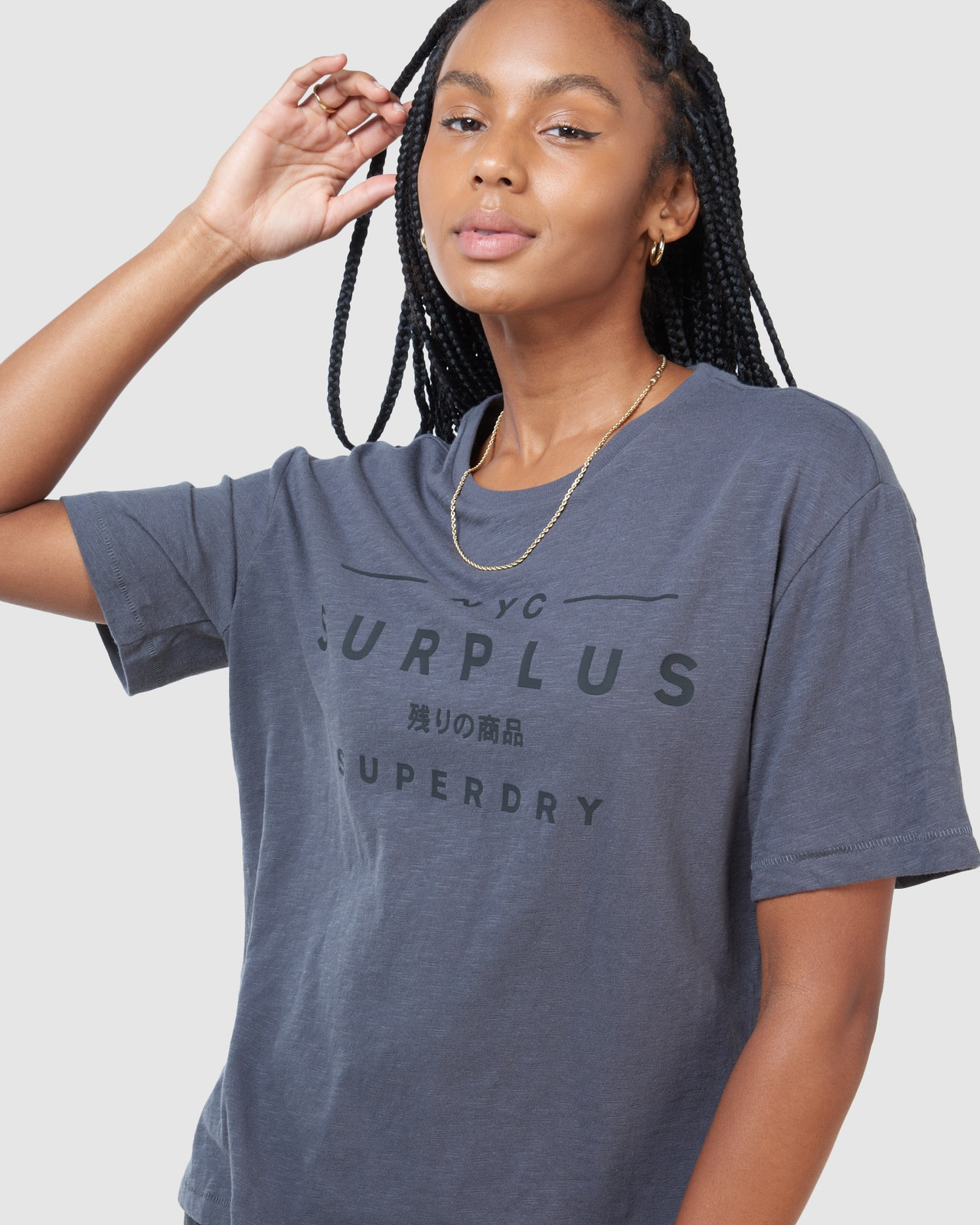Superdry Womens SURPLUS GRAPHIC TEE Grey Printed T Shirts 5