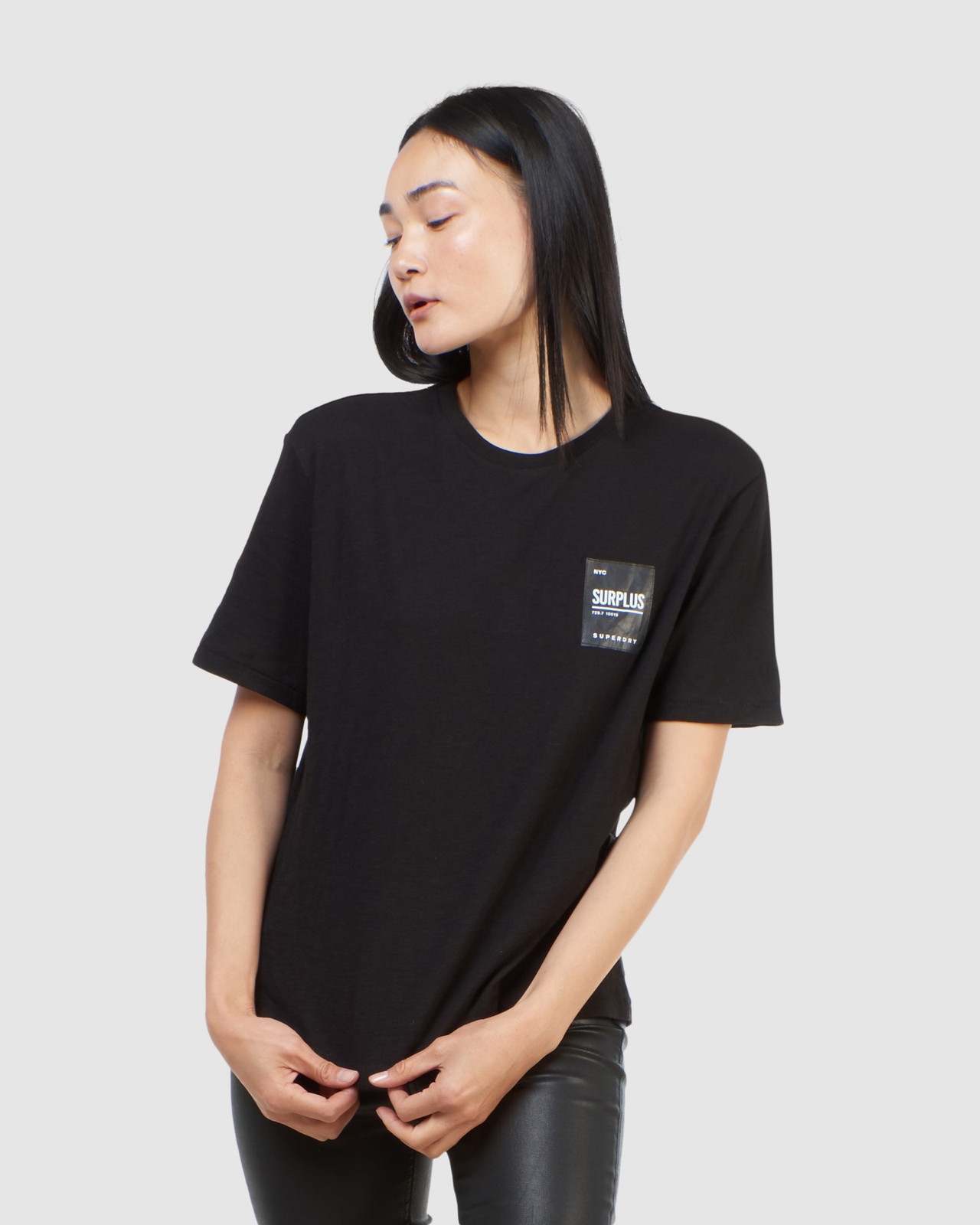 Superdry Womens SURPLUS LABEL TEE Black Printed T Shirts 0