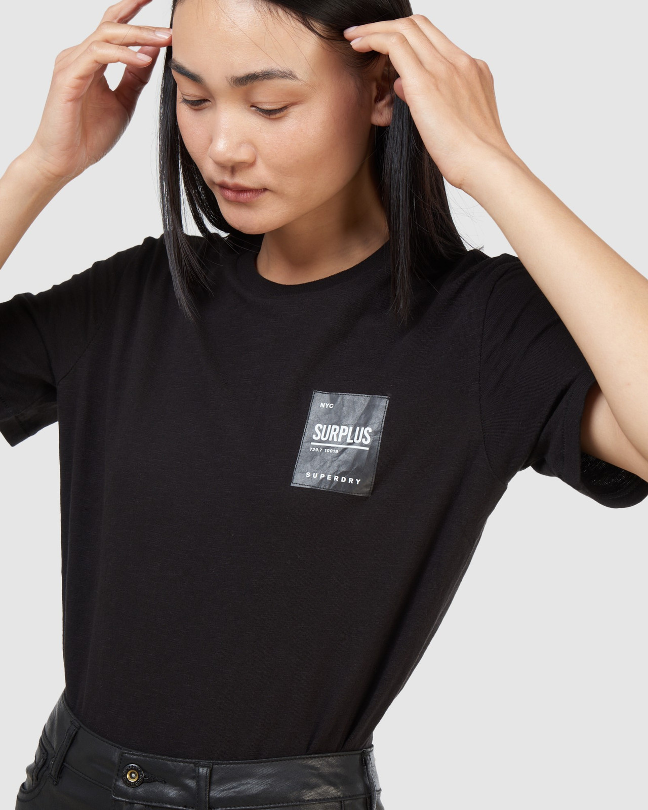 Superdry Womens SURPLUS LABEL TEE Black Printed T Shirts 5