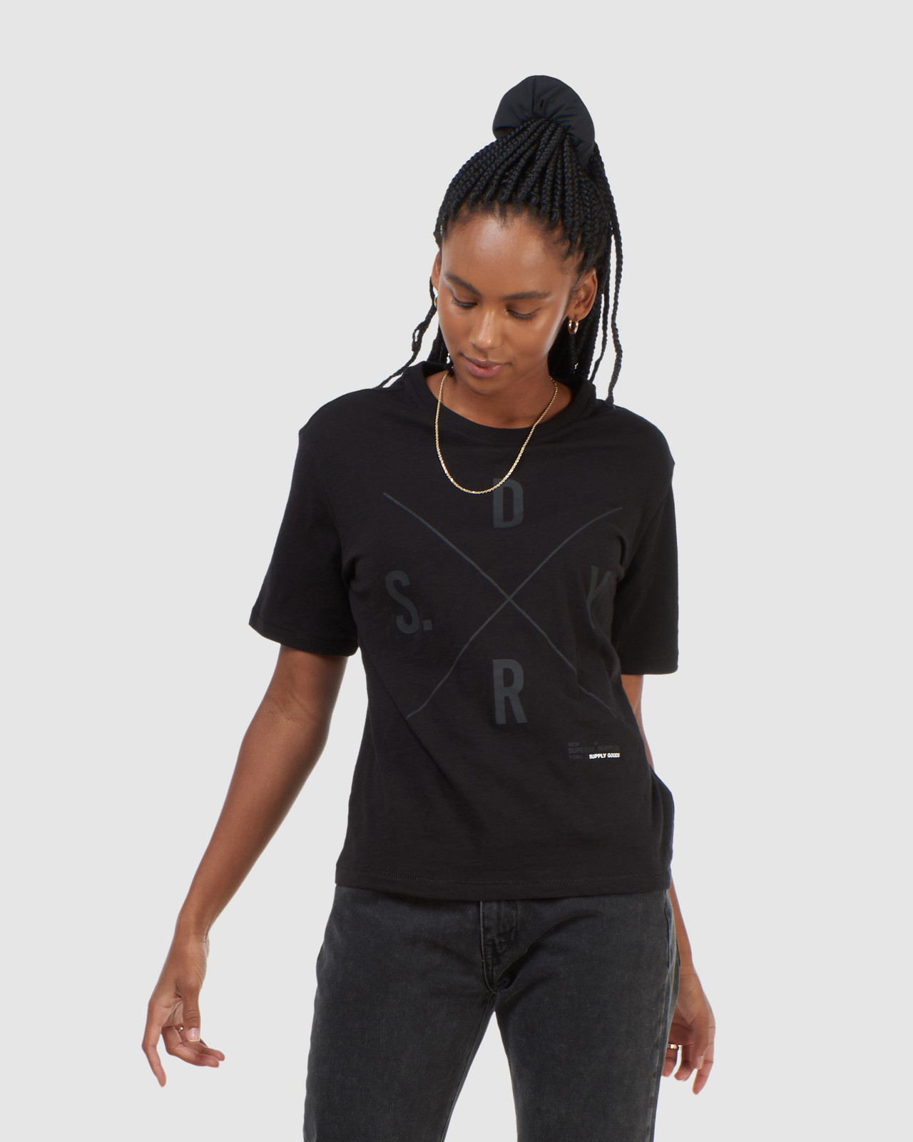 Superdry Womens SURPLUS GRAPHIC TEE Black Printed T Shirts 0