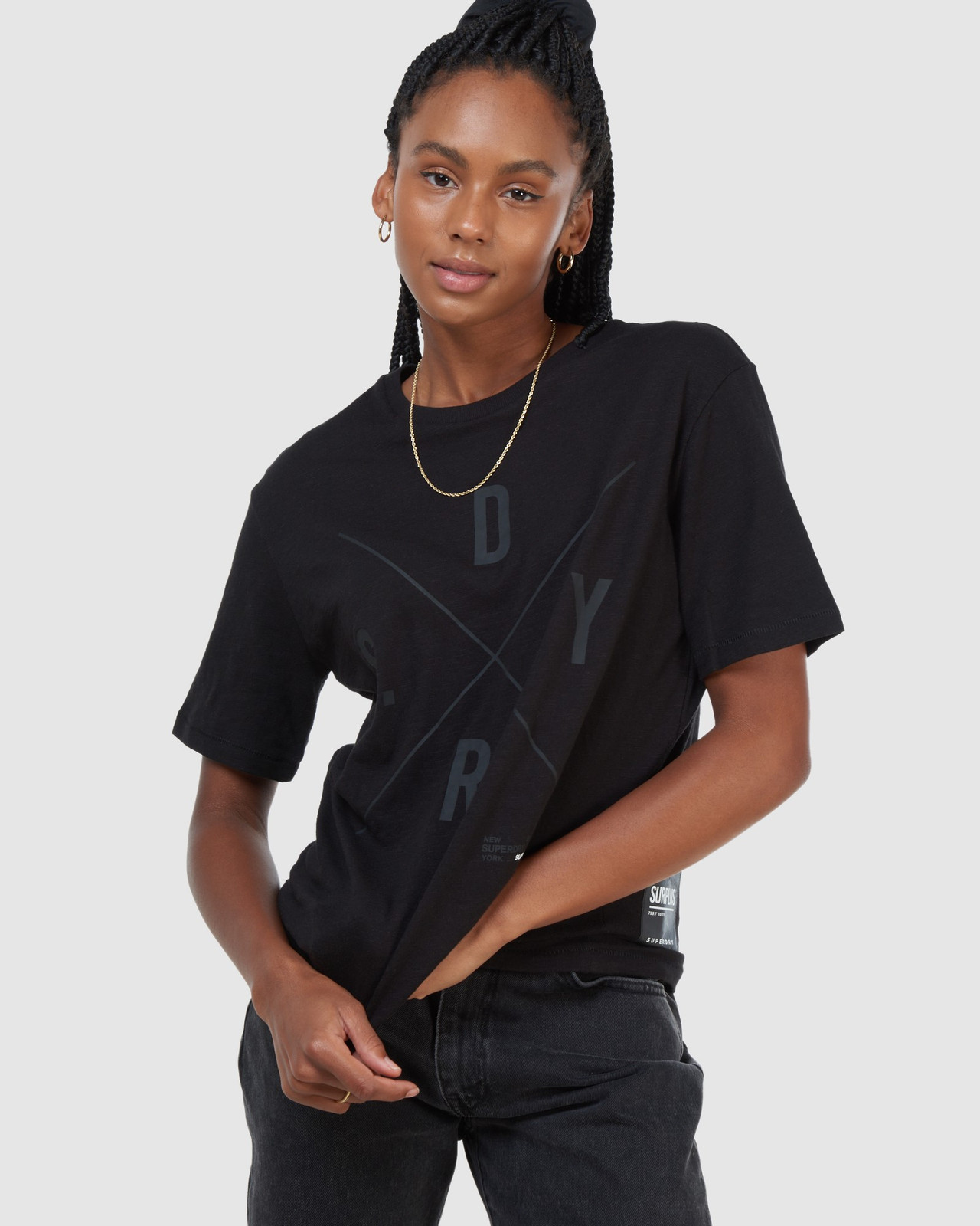 Superdry Womens SURPLUS GRAPHIC TEE Black Printed T Shirts 4