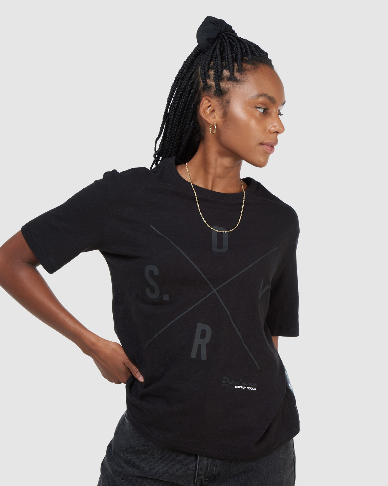 Superdry Womens SURPLUS GRAPHIC TEE Black Printed T Shirts 5