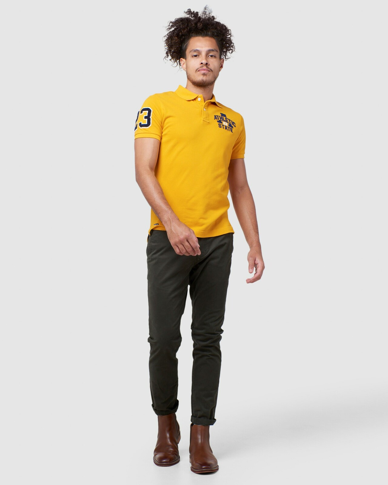 Superdry Mens BOSTON SUPERSTATE POLO Gold Printed Polos 1