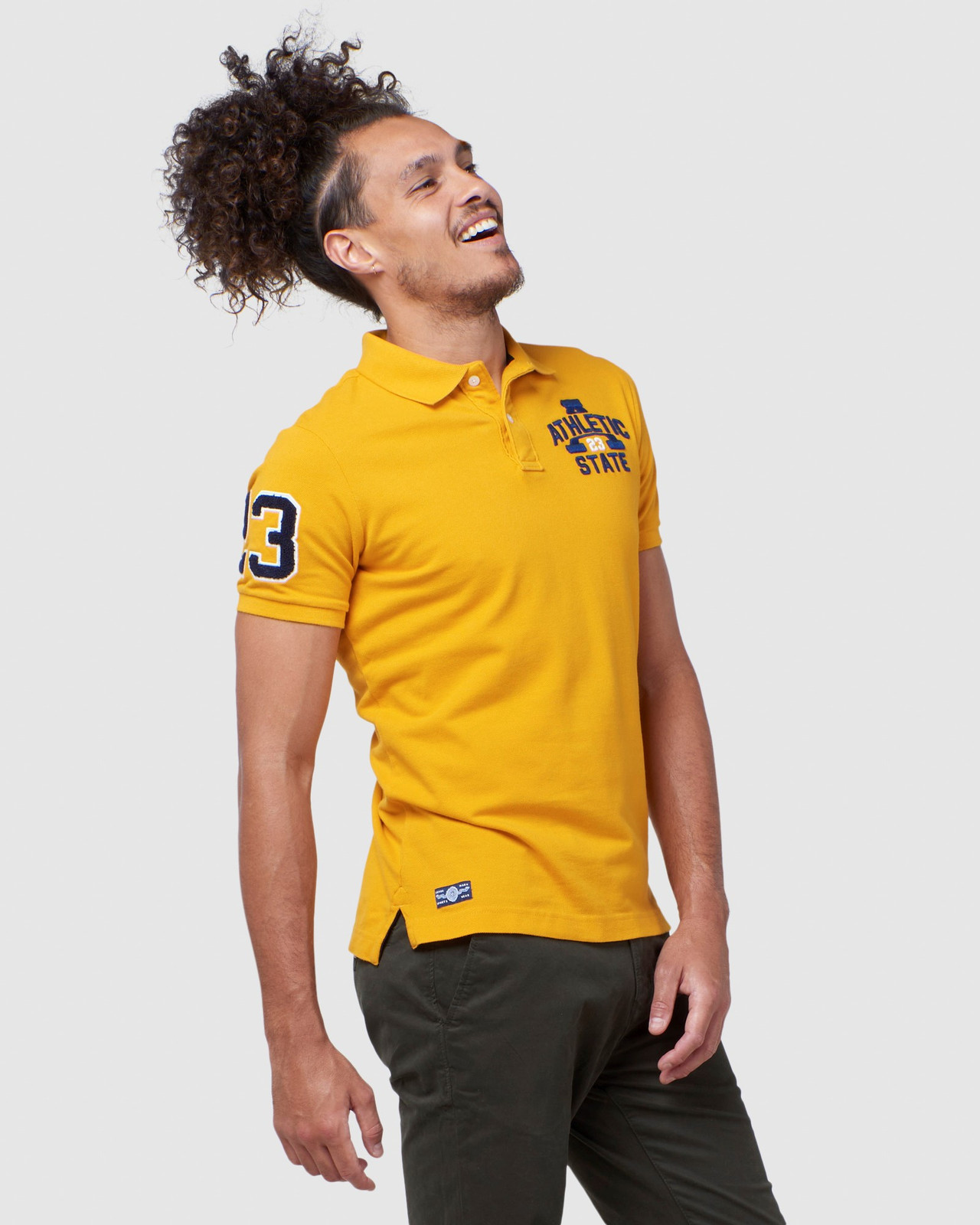 Superdry Mens BOSTON SUPERSTATE POLO Gold Printed Polos 2