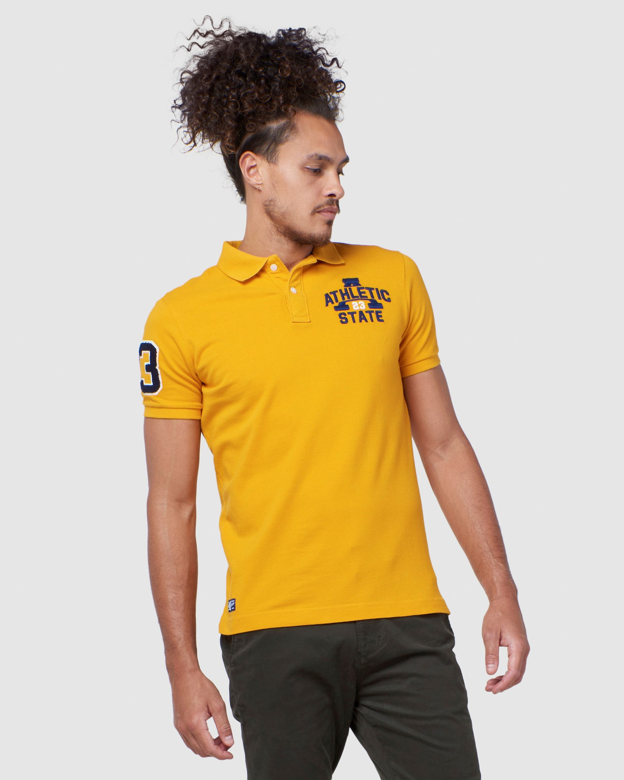 Superdry Mens BOSTON SUPERSTATE POLO Gold Printed Polos 0