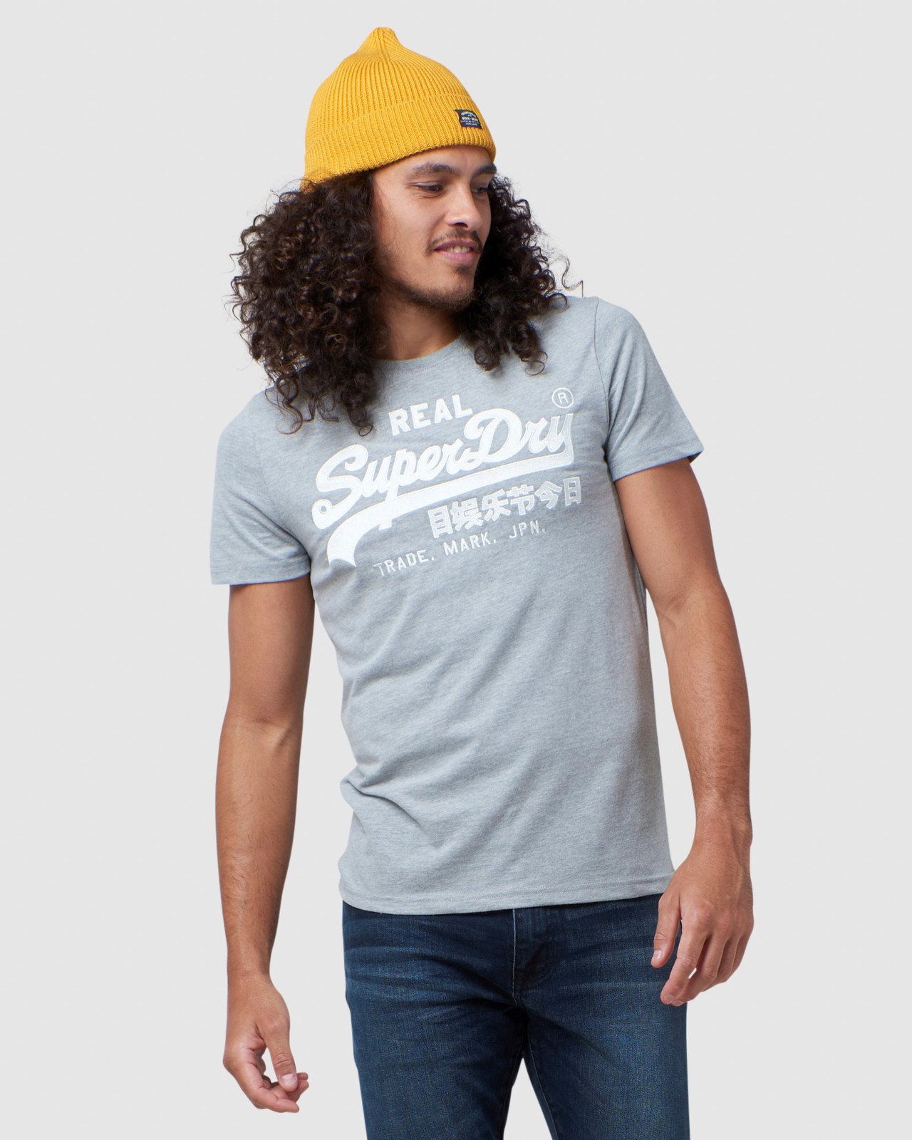 Superdry Mens Vintage Logo Embroidery Tee Grey Printed T Shirts 0